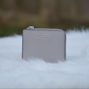Kate Spade small zip bifold wallet Grey